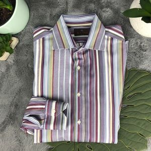 Etro Milano Multi-Color Strip Dress Shirt